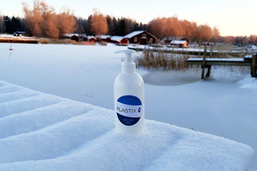 STANDARD saippuapumppu 28/410 sekä pyöreäolkainen pullo HDPE 500ml