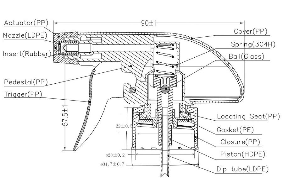 28/410 triggerpumppu rakenne