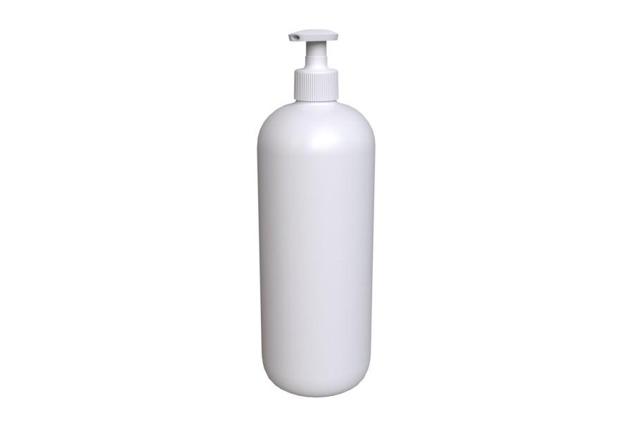 Soap Pump STANDARD 28/410 on white Round Shoulder HDPE 1000ml bottle
