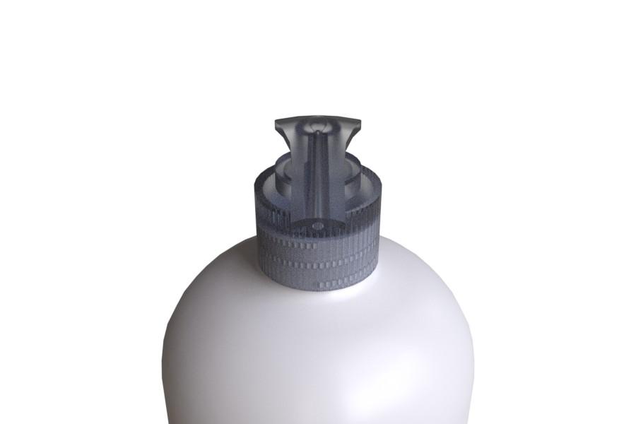 Pyöreäolkainen Pumppupullo & läpikuultava STORK 28/410 saippuapumppu