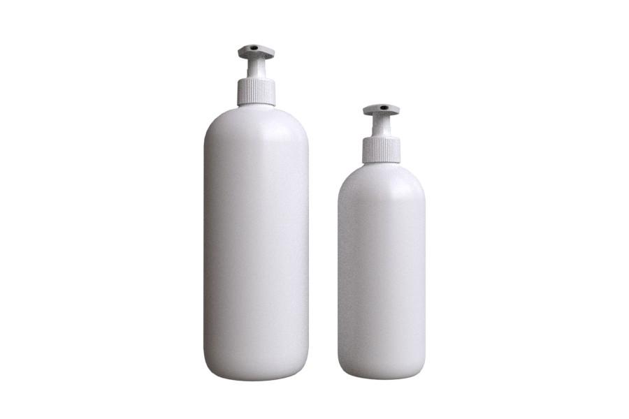 PLASTIX Pyöreäolkainen muovipullo valkoinen 500ml & 1000ml