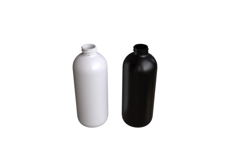 Pyöreäolkainen pullo 500ml valkoinen ja musta